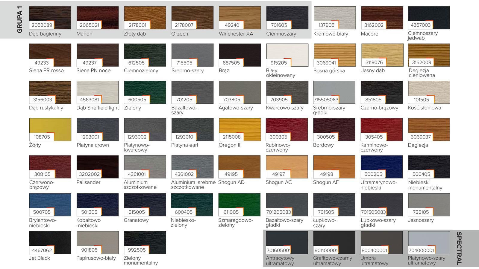 Paleta kolorów okien PCV VEKA