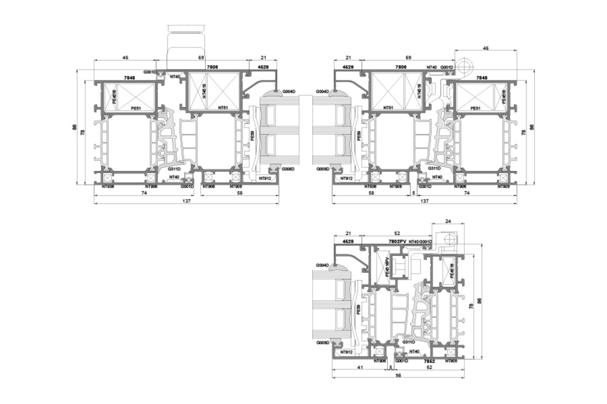 Okna aluminiowe firmy PNZIO E78 schemat