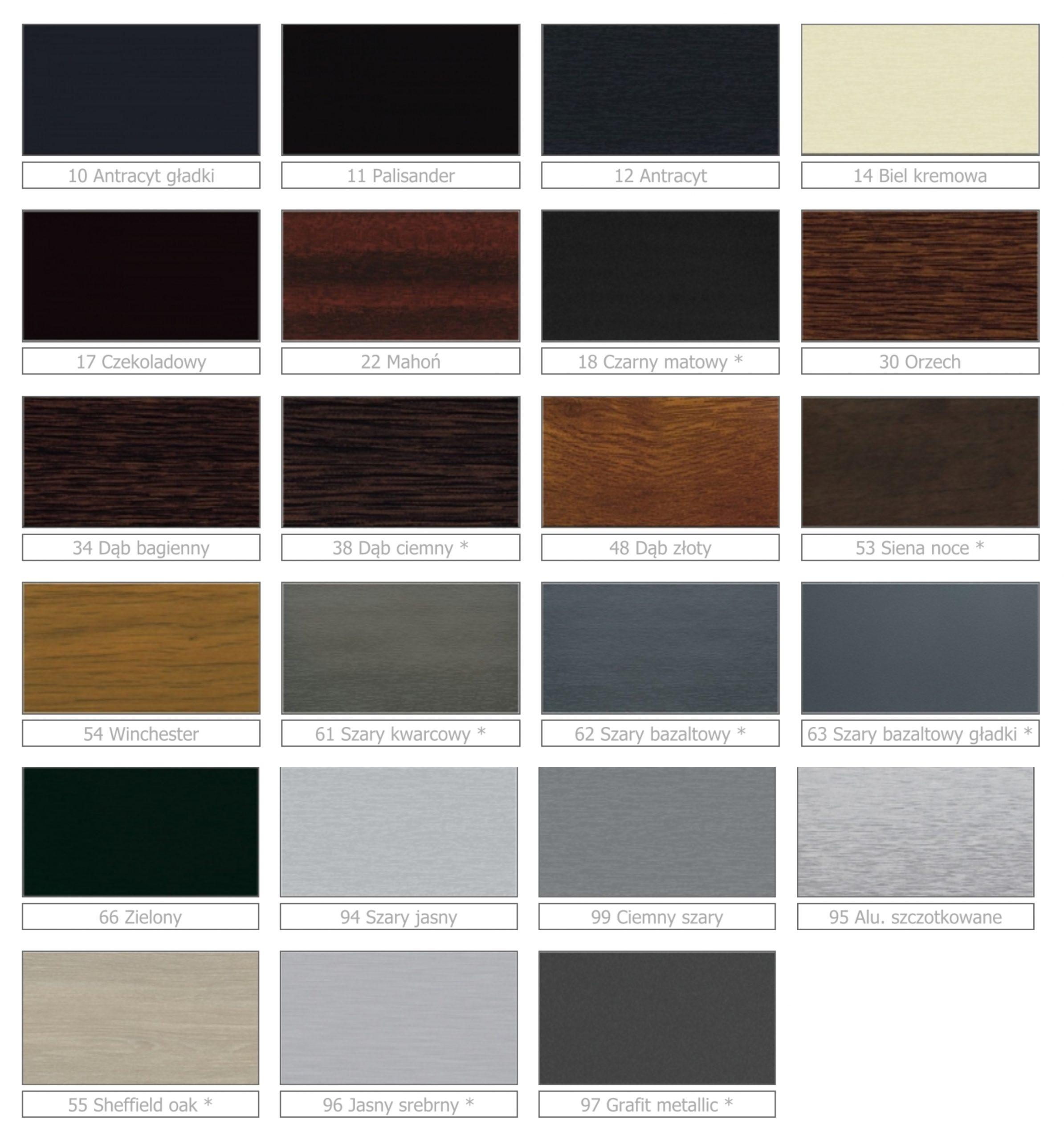ŻALUZJE FASADOWE - paleta kolorów