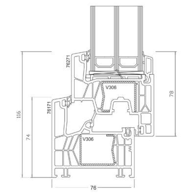 Okno PCV na profilu PK76 INNOVO+ schemat